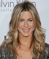 Jennifer Aniston Long Wavy   Dark Champagne Blonde   Hairstyle   with Light Blonde Highlights