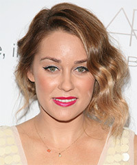 Lauren Conrad  Long Curly Casual   Half Up Hairstyle   - Light Brunette Hair Color with  Blonde Highlights