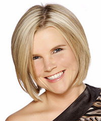 Short Straight Formal Layered Bob  Hairstyle   - Light Blonde Hair Color with Dark Blonde Highlights