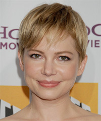 Michelle Williams Short Straight Casual Layered Pixie  Hairstyle with Side Swept Bangs  - Dark Golden Blonde Hair Color with Light Blonde Highlights