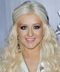 Christina Aguilera  Long Curly Casual   Half Up Hairstyle   - Light Platinum Blonde Hair Color