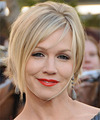 Jennie Garth Short Straight Layered  Light Blonde Bob  Haircut with Side Swept Bangs  and  Blonde Highlights