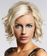 Short Wavy Formal Layered Bob  Hairstyle   - Platinum Hair Color with  Blonde Highlights