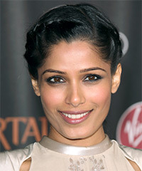 Freido Pinto  Long Curly Formal  Braided Updo Hairstyle   - Black  Hair Color