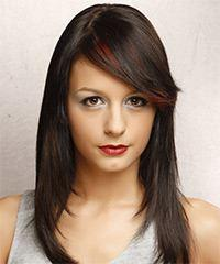 Long Straight Casual    Hairstyle with Side Swept Bangs  - Dark Brunette Hair Color with Dark Red Highlights