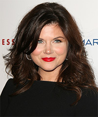 Tiffani Thiessen Medium Wavy Casual    Hairstyle with Side Swept Bangs  - Dark Chocolate Brunette Hair Color