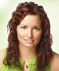 Long Wavy Casual    Hairstyle   - Dark Auburn Brunette Hair Color with Dark Red Highlights