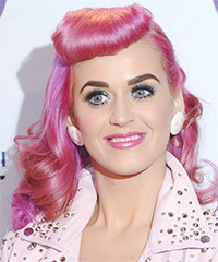 Katy Perry Long Wavy Alternative    Hairstyle   - Pink Bright  Hair Color