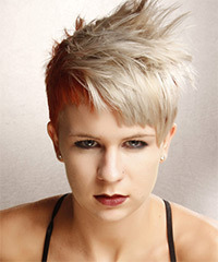 Short Straight Alternative  Asymmetrical  Hairstyle with Blunt Cut Bangs  - Light Ginger Blonde and Light Red Two-Tone Hair Color