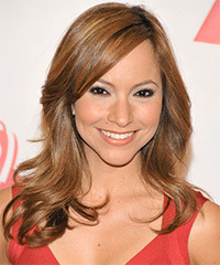 Satcha Pretto Long Straight Formal    Hairstyle with Side Swept Bangs  - Light Caramel Brunette Hair Color