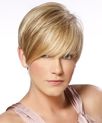 Short Straight Formal    Hairstyle with Side Swept Bangs  - Dark Golden Blonde Hair Color with Light Blonde Highlights