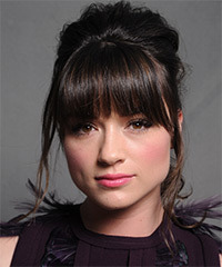 Crystal Reed  Long Straight Formal   Updo Hairstyle with Blunt Cut Bangs  - Dark Brunette Hair Color