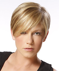 Short Straight Formal Layered Pixie  Hairstyle with Side Swept Bangs  -  Blonde Hair Color with Dark Blonde Highlights