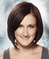 Medium Straight Formal Layered Bob  Hairstyle   - Dark Plum Brunette Hair Color with Dark Red Highlights