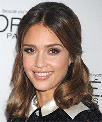 Jessica Alba  Medium Curly Formal   Updo Hairstyle   -  Brunette Hair Color with Light Brunette Highlights