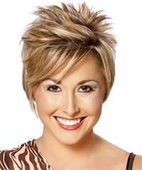Short Straight Formal    Hairstyle with Side Swept Bangs  -  Caramel Blonde Hair Color with Light Brunette Highlights