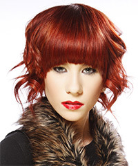 Medium Wavy Alternative    Hairstyle with Blunt Cut Bangs  - Dark Bright Red Hair Color