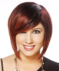 Short Straight Casual Layered Bob  Hairstyle with Side Swept Bangs  - Dark Red Hair Color