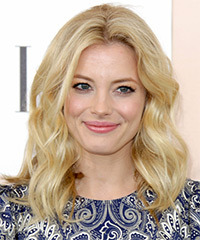 Gillian Jacobs Medium Wavy Casual    Hairstyle   - Light Golden Blonde Hair Color with Light Blonde Highlights