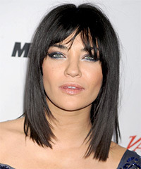 Jessica Szohr Medium Straight Casual  Bob  Hairstyle with Layered Bangs  - Black  Hair Color