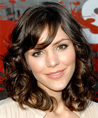 Katharine McPhee Medium Wavy Formal Layered Bob  Hairstyle with Side Swept Bangs  -  Ash Brunette Hair Color