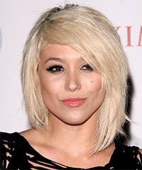 BC Jean Short Straight Casual Layered Bob  Hairstyle with Side Swept Bangs  - Light Platinum Blonde Hair Color