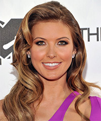 Audrina Patridge Long Wavy Formal    Hairstyle   -  Caramel Brunette Hair Color with  Blonde Highlights