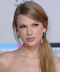 Taylor Swift  Long Straight Casual   Updo Hairstyle   -  Champagne Blonde Hair Color