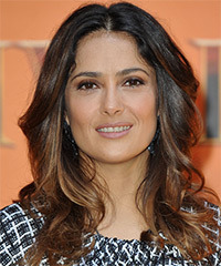 Salma Hayek Long Wavy Formal    Hairstyle   -  Brunette Hair Color with  Blonde Highlights
