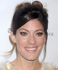 Jennifer Carpenter  Long Curly Formal   Updo Hairstyle with Side Swept Bangs  - Dark Brunette Hair Color