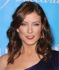Kate Walsh Medium Wavy Casual    Hairstyle   - Dark Brunette Hair Color with  Red Highlights