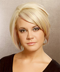 Short Straight Formal Layered Bob  Hairstyle with Side Swept Bangs  - Golden Hair Color