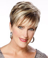 Short Straight Formal    Hairstyle with Layered Bangs  - Light Brunette Hair Color with Light Blonde Highlights