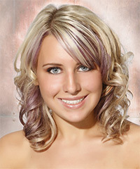 Medium Curly Formal    Hairstyle with Side Swept Bangs  - Light Ash Blonde Hair Color with Purple Highlights