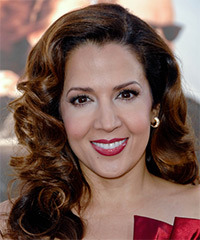 Maria Canals Berrera Long Wavy Formal    Hairstyle   - Dark Auburn Brunette Hair Color with Dark Blonde Highlights