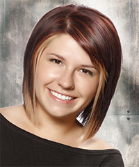 Medium Straight Casual Layered Bob  Hairstyle with Side Swept Bangs  - Dark Plum Red Hair Color with Light Blonde Highlights