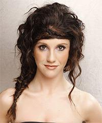 Long Curly Casual   Updo Hairstyle   - Dark Brunette Hair Color