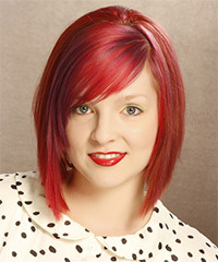 Medium Straight Casual Layered Bob  Hairstyle with Side Swept Bangs  -  Bright Red Hair Color with Pink Highlights