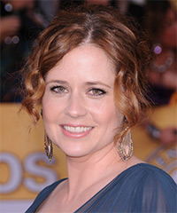 Jenna Fischer  Long Curly Formal   Updo Hairstyle   -  Burgundy Brunette Hair Color with  Red Highlights