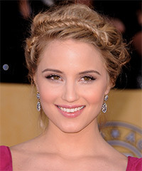 Dianna Agron  Long Straight Formal  Braided Updo Hairstyle   -  Champagne Blonde Hair Color with Light Blonde Highlights