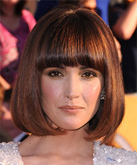 Rose Byrne Medium Straight Formal Layered Bob  Hairstyle with Blunt Cut Bangs  -  Mahogany Brunette Hair Color