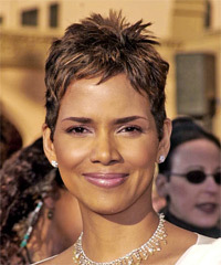 Halle Berry Short Straight Casual    Hairstyle   - Chocolate Hair Color