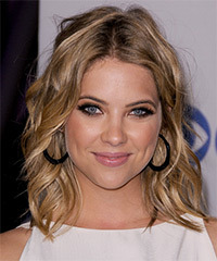 Ashley Benson Medium Wavy Casual    Hairstyle   - Dark Ash Blonde Hair Color with Light Blonde Highlights