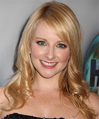 Melissa Rauch Long Wavy Formal    Hairstyle with Side Swept Bangs  -  Honey Blonde Hair Color with Light Blonde Highlights