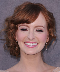 Ahna O'Reilly  Long Curly Formal   Updo Hairstyle with Side Swept Bangs  -  Auburn Brunette Hair Color