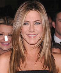 Jennifer Aniston Long Straight Casual    Hairstyle   - Light Caramel Brunette Hair Color with Light Blonde Highlights