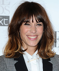 Alexa Chung Medium Straight Casual Layered Bob  Hairstyle with Layered Bangs  - Dark Brunette and  Blonde Two-Tone Hair Color