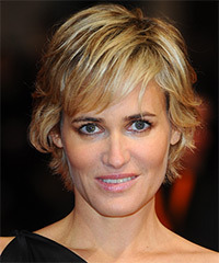 Judith Godreche Short Straight Casual    Hairstyle with Side Swept Bangs  -  Golden Blonde Hair Color