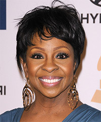 Gladys Knight Short Straight Casual    Hairstyle with Layered Bangs  - Black  Hair Color