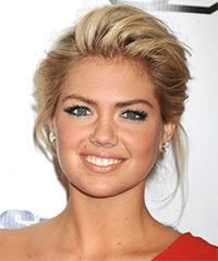Kate Upton  Medium Straight Formal   Updo Hairstyle   - Dark Golden Blonde Hair Color